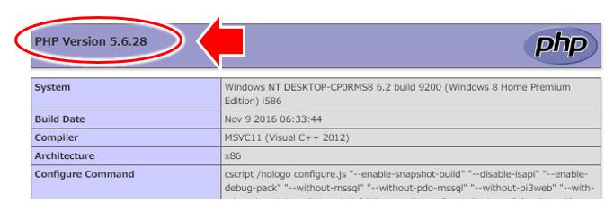 PHP Infoの表示。PHPバージョンが表示される。