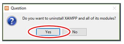 XAMPPアウンインストールの確認画面