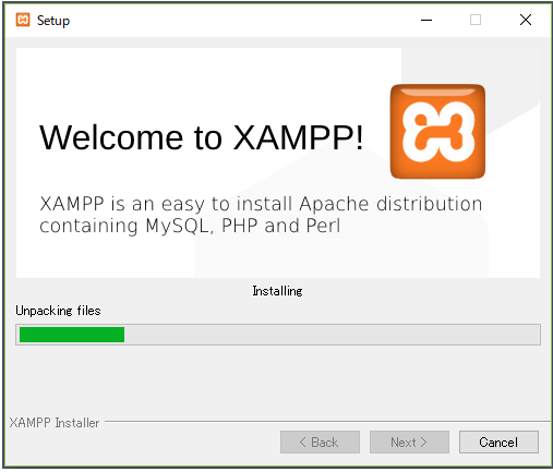 XAMPPのインストール中画面