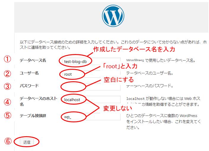 ワードプレスのインストール開始時の各種情報入力画面