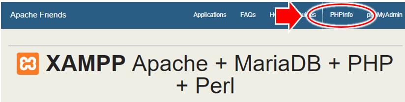 Apache Friends のページから「PHPInfo」をクリック